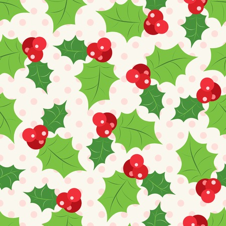 Seamless pattern of holly berry sprig.  Vector illustration of christmas holiday design. Green and red colors. Illustration