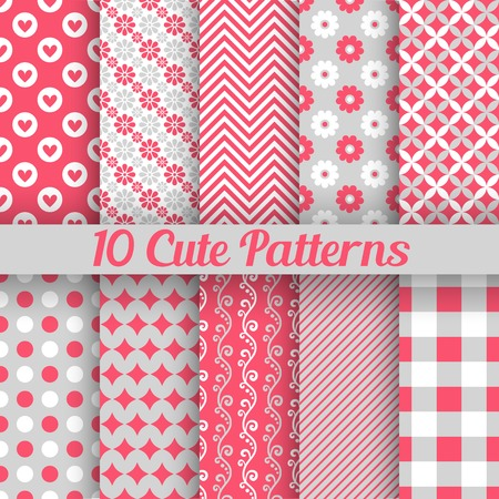 10 Cute different seamless patterns. Vector illustration for beauty design. Pink, white and grey colors. Endless texture can be used for sweet romantic wallpaper, pattern fill, web page background.