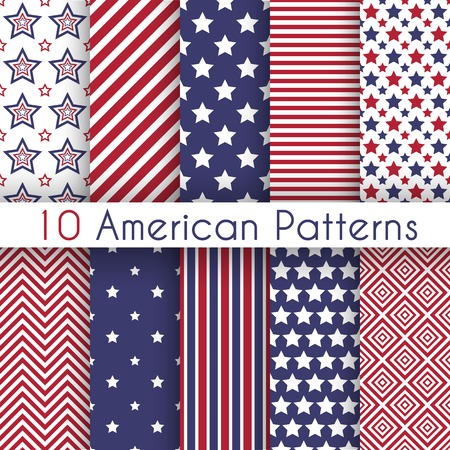 Patriotic red, white and blue geometric seamless patterns. Vector set with American symbols. USA flag. Ilustração