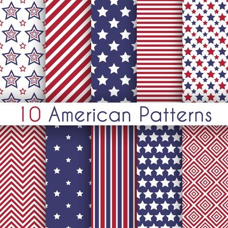 Rojo patriótico, geométricos patrones sin fisuras en blanco y azul. Conjunto de vectores con símbolos estadounidenses. Bandera de EE.UU.. Vectores