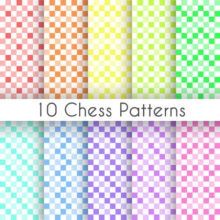 Chess plaid vector seamless patterns. Endless texture can be used for wallpaper, fill, web background, texture. Set of monochrome geometric ornaments. Square shapes. Vector