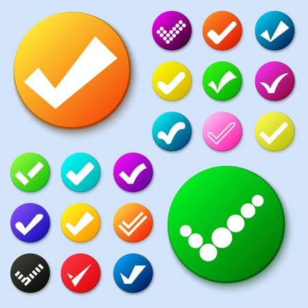 Set of different vector simple circle shape internet button with check mark or tick. Confirmation acceptance positive passed voting agreement true or completion of tasks on a list. Web design elements Vector
