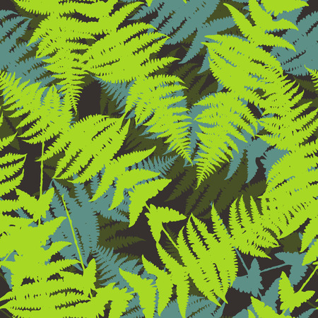 Seamless pattern of fern leaves. Vector illustration of jungle nature design. Green and black colors. Vector