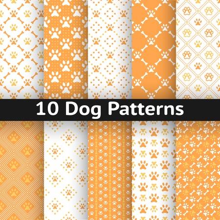 patas de perros: Conjunto de perro Modelo inconsútil del vector de la huella de la pata en la repetición rombo. Los colores naranja y blanco.