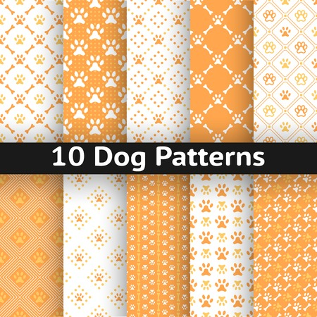 Set of dog seamless vector pattern of paw footprint in repeating rhombus. Orange and white colors.
