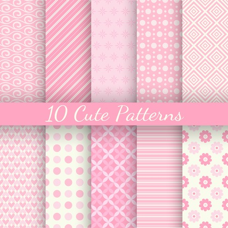 10 Cute different vector seamless patterns. Pink and white colors. Endless texture can be used for sweet romantic wallpaper, pattern fill, web page background, surface textures. Ilustração