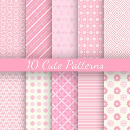 patrones de flores: 10 diferentes patrones de vectores sin fisuras lindos. Colores rosas y blancas. Textura fin se puede utilizar para el papel pintado dulce rom�ntico, patr�n de relleno, de fondo p�gina web texturas de la superficie. Vectores