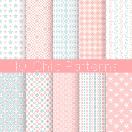10 Chic different vector seamless patterns. Pink, white and blue color. Endless texture can be used for printing onto fabric and paper or scrap booking. Vector