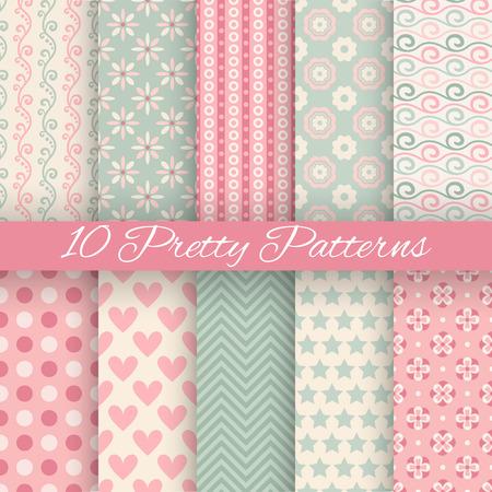 10 vecteur pastel Jolie seamless patterns (carrelage, avec nuance). Sans fin la texture peut être utilisé pour le papier peint, remplir, web fond, texture. Jeu de abstraits ornements mignons. Bleu, blanc, couleurs beige.