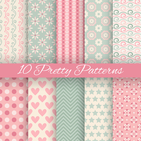 10 Pretty pastel vector seamless patterns (tiling, with swatch). Endless texture can be used for wallpaper, fill, web background, texture. Set of abstract cute ornaments. Blue, beige, white colors.