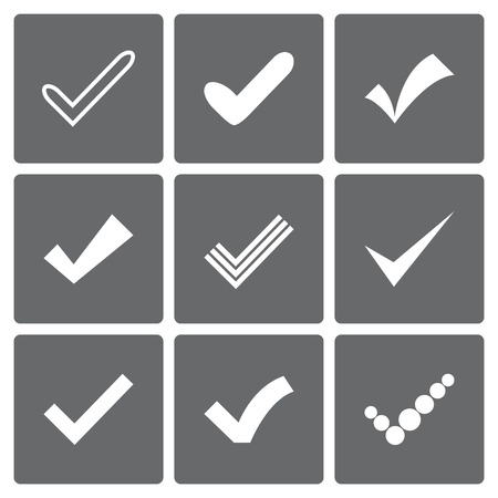 Set of different vector check marks or ticks. Confirmation acceptance positive passed voting agreement true or completion of tasks on a list. Illustration