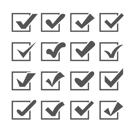 Set Of Different Vector Check Marks Or Ticks In Boxes Confirmation