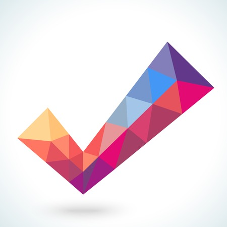 passed: Vector polygonal crystal check mark or tick with shadow. Confirmation acceptance positive passed voting agreement true or completion of tasks on a list. Web design element