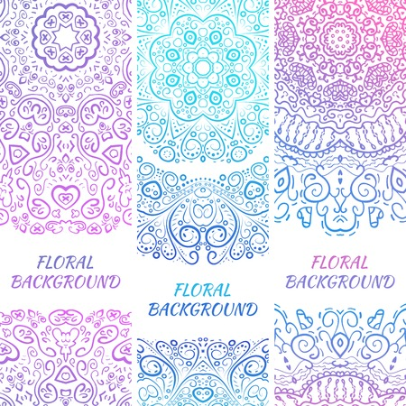 Tribal ethnic vintage banners. Illustration for your cute feminine romantic design. Aztec sign on white background. Pink and blue colors. Border and frame. Oriental rug napkin. Stripe pattern. Vector