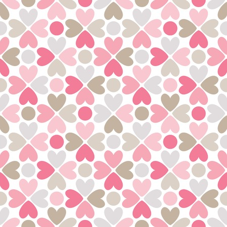 Floral vector seamless pattern with heart and dot shapes. Endless texture can be used for printing onto fabric and paper or scrap booking. Romantic ornament Vector