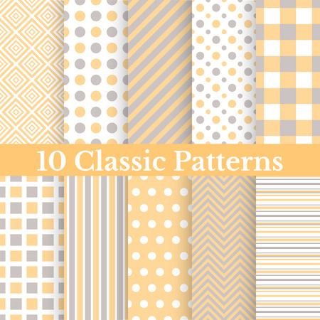 10 Vintage different vector seamless patterns. Endless texture for wallpaper, fill, web page background, surface texture. Set of monochrome geometric ornament. Yellow, grey and white shabby colors.