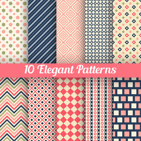 zig zag: 10 Elegant vector seamless patterns. Retro blue, pink, red and white colors. Endless texture can be used for printing onto fabric and paper, scrap booking. Set of abstract pretty chic background