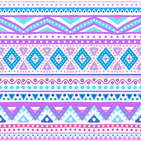 Tribal ethnic seamless stripe pattern. Vector illustration for your cute feminine romantic design. Aztec sign on white background. Pink, purple and blue colors. Borders and frames. Vector