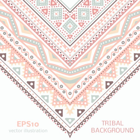 Tribal ethnic corner pattern. Vector illustration for your cute feminine romantic design. Aztec sign on white background. Pink, brown and blue colors. Borders and frames. Pretty texture wallpaper. Vector