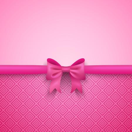 lazo rosa: Fondo romántico del vector de color rosa con el arco lindo y patrón. Diseño bonito. Fondo de pantalla Tarjeta de felicitación para el día de San Valentín, cumpleaños o el día de la mujer.