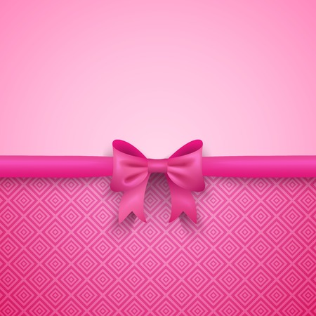 Romantic vector pink background with cute bow and pattern. Pretty design. Greeting card wallpaper for valentine day, birthday or woman day. Çizim