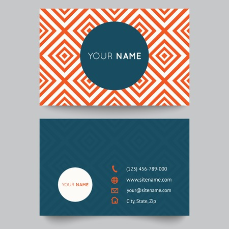 Business card template, orange and white pattern vector design editable.  Vector