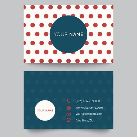 Business card template, red and white pattern vector design editable. Vector