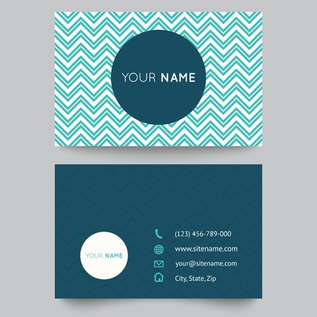 aqua icon: Business card template, blue and white pattern vector design editable.