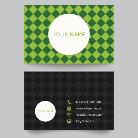 Business card template, green pattern vector design editable. Vector