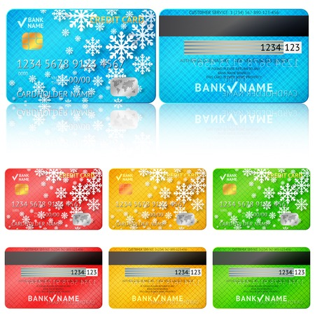 Set of realistic credit card two sides. Vector illustration for your business winter holiday design. With white snow flakes. Blue, red, green and yellow colors. New Year and Christmas theme. Vector