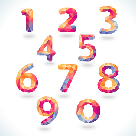 Numbers set in modern polygonal crystal style. Vector illustration colorful bright design. Formed by triangles. For party poster, greeting card, banner or invitation. Cute numerical icons and signs. Vector