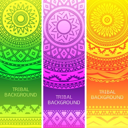 Tribal ethnic vintage banners. Vector illustration for your cute feminine romantic design. Colorful element on green, purple, orange background. Border and frame. Oriental rug napkin. Abstract pattern. Vector