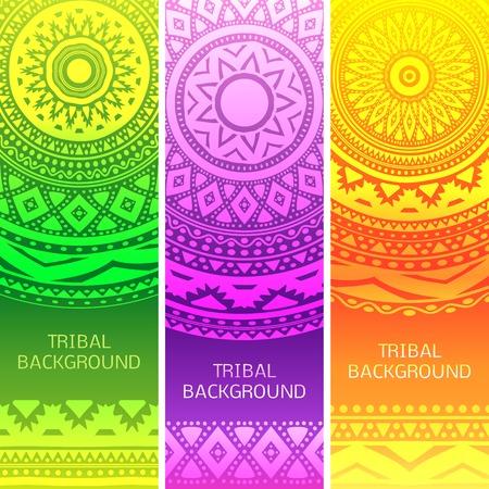 verde y morado: Tribales banderas �tnicas vintage. Ilustraci�n vectorial para su dise�o rom�ntico femenino lindo. Elemento colorido en verde, p�rpura, fondo anaranjado. Frontera y el marco. Servilleta alfombra oriental. Resumen patr�n.
