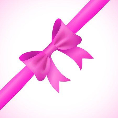 pink bow: Big shiny pink bow and ribbon on white background. Vector illustration for your holiday gift design.