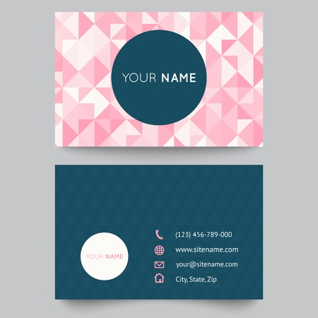 Business card template, abstract crystal pink triangle background. Vector illustration for modern cute romantic design. Polygonal texture. With icons of contacts.