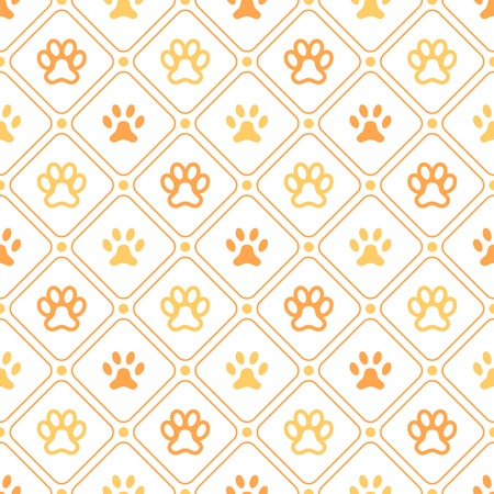 onto: Animal seamless vector pattern of paw footprint, line and dot. Endless texture can be used for printing onto fabric, web page background and paper or invitation. Dog style. White and orange colors. Illustration