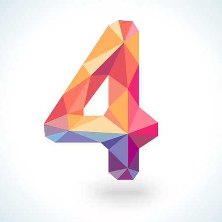 Number four in modern polygonal crystal style. Vector illustration colorful bright design. Formed by triangles. For party poster, greeting card, banner or invitation. Cute numerical icon and sign. Vector