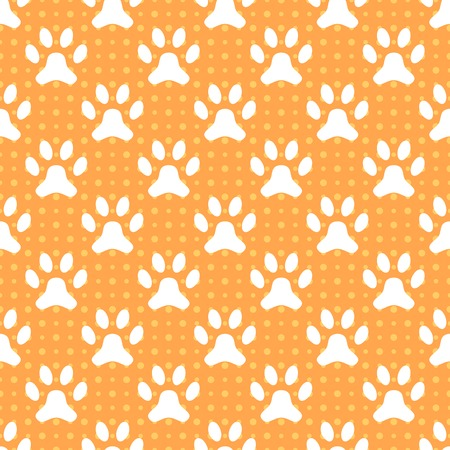 cat footprint: Animal seamless vector pattern of paw footprint and dot. Endless texture can be used for printing onto fabric, web page background and paper or invitation. Dog style. White and orange colors.