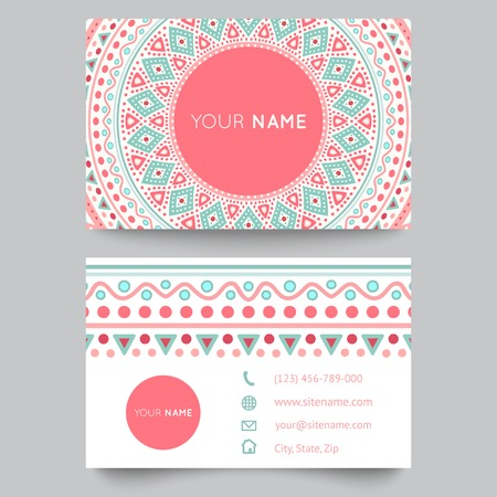 Business card template, blue, white and pink beauty fashion pattern vector design editable trible. Vector illustration for modern design. Beautiful ornate pattern. Vector