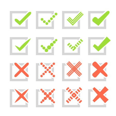 Set of different vector check marks or ticks and crosses. Confirmation, right and wrong choices, task completion, voting, etc. isolated on white background. Grey, red and green colors. Vector