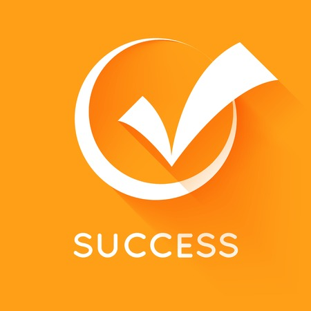 White vector check mark or tick in round box with shadow on orange background. Flat design style icon. Concept of success, proper selection, right choices, task completion, approval and confirmation.