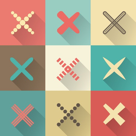 Set of different retro vector crosses and tics. Confirmation, right and wrong choices, task completion, voting, etc. isolated on white background. Red, brown and green colors. Elements in flat design. Ilustração