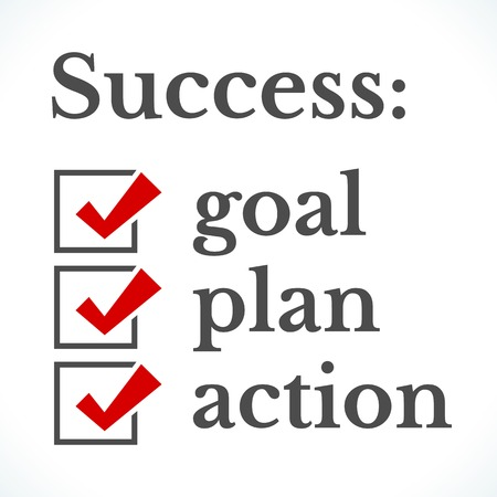 the list plan: The concept of successful completion of the task in stages goal, plan and action. Popular check list symbol red right mark with black square box isolated on white background. Vector illustration.
