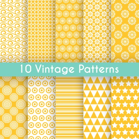 10 Vintage different vector seamless patterns. Endless texture for wallpaper, fill, web page background, surface texture. Set of monochrome geometric ornament. Yellow, blue and white shabby colors. Illustration