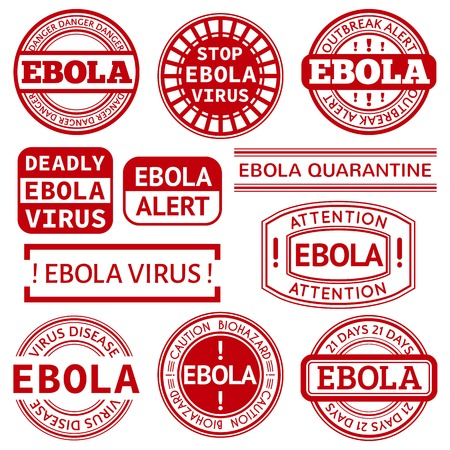 informing: Set of red stamp with Ebola concept text on white background. Vector illustration for warning informing about deadly virus disease.