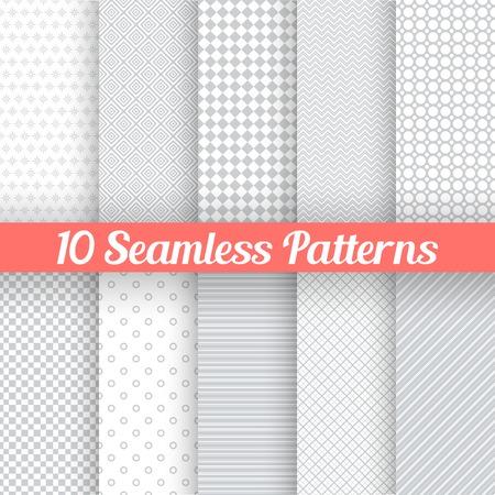10 Licht grijs naadloze patronen voor universele achtergrond. Vector illustratie voor web design. Grijs en wit kleuren. Eindeloze textuur kan worden gebruikt voor behang, patroon vult, webpagina achtergrond. Stockfoto - 33035881