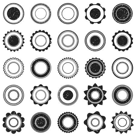Set of black grunge stamp. Round shapes. Vector illustration for vintage design. Vector