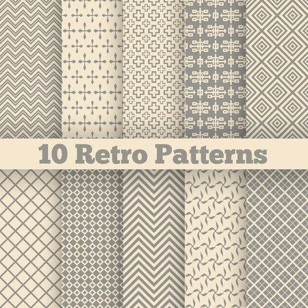 10 Retro different seamless patterns. Vector illustration for beauty design. Shades of beige color. Endless texture can be used for fawn wallpaper, pattern fill, web page background.