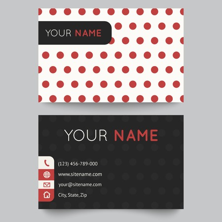 Business card template, red and white pattern vector design editable. Vector illustration for modern design. Vector