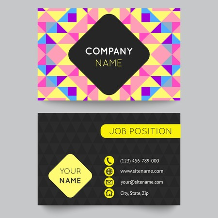 Business card template, abstract colorful geometric background. Vector illustration for modern design. With pattern is composition of triangle and square. Pink, yellow, blue and purple color. Vector